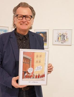 Burkhard Fritsche Cartoon Ausstellung Haus Hildener Künstler