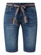 Blue Monkey  Jeansbermudas mit Stretch-Anteil und Gürtel  - Jeans