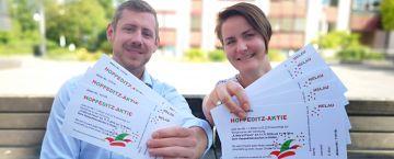Carnevals Comitee Hilden und Hoppedine: Aktion mit Aktien