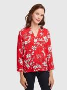 Blusenshirt mit floralem Print in Rot
