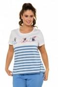 T-Shirt, Ringel, Classic, Kakadu-Motiv, Pailletten