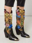 Versace Jeans Couture  Stiefel aus Leder und Textil im Western-Look - Schwarz