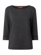 s.Oliver RED LABEL  Sweatshirt mit Hahnentritt-Dessin  - Schwarz