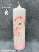 Kerze Pusteblume rosa Herzchen   E-29