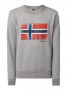 Napapijri  Sweatshirt mit gummiertem Logo-Print  - Mittelgrau
