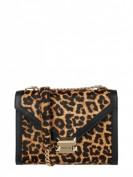 MICHAEL Michael Kors Whitney -  Handtasche aus Leder mit Besatz aus Ponyfell - Cognac