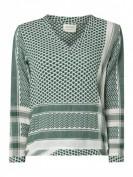 CECILIE COPENHAGEN  Blusenshirt aus Baumwolle mit Kufiyamuster - Grün
