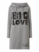 Love Moschino  Sweatkleid mit Kapuze und Pailletten-Applikation  - Mittelgrau meliert