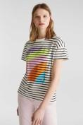 Streifen-Shirt mit Print, 100% Baumwolle
