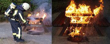 Feuerwehr löscht Brand auf Spielplatz
