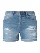 Noisy May  Stone Washed Jeansshorts im Destroyed Look - Hellblau