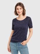 T-Shirt mit glänzender Verzierung in Dunkelblau