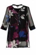 Chiffon-Bluse, Blüten-Design, 3/4-Ärmel, selection