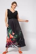 Jerseykleid, drapierte Büste, Lilienmotiv, Ziersteine