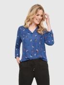 Blusenshirt mit floralem Print in Blau
