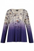 Shirt, Farbverlauf, Blütenmuster, A-Linie