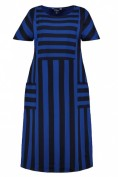 Kleid, Streifenjersey, Oversized, Halbarm