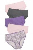 Slips, 5er-Pack, Blumen/ grau/ lila/ rosa, bis 74/76
