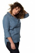 Lyocell-Bluse, Denim-Optik, 3/4-Arm