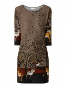 Apricot  Strickkleid mit Allover-Muster  - Taupe