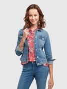 Jeansjacke mit Nietendetails in Blau