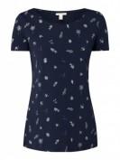 Esprit  Shirt aus Baumwolle mit Allover-Muster  - Marineblau